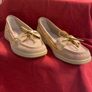 Sperry Tan topsiders with gold details